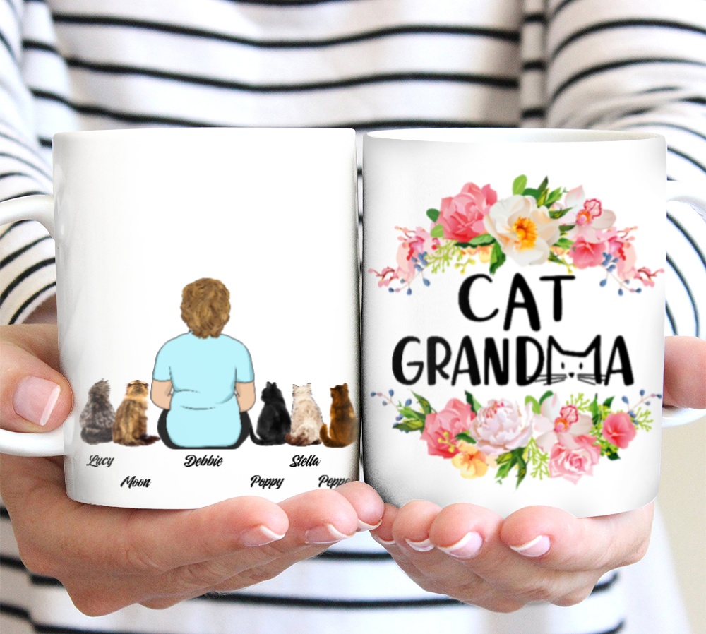 Custom personalized cat & owners canvas Pet remembrance print gift idea for the whole family - Cat Grandma - PersonalizedWitch