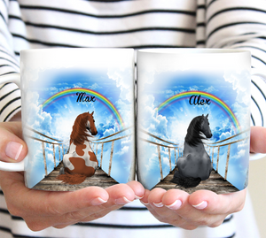Sending Hugs To Heaven (Horse version) - Personalized Mother's day gifts ideas horse owners presents horse lover gift farm lover gift pet lovers gift mug