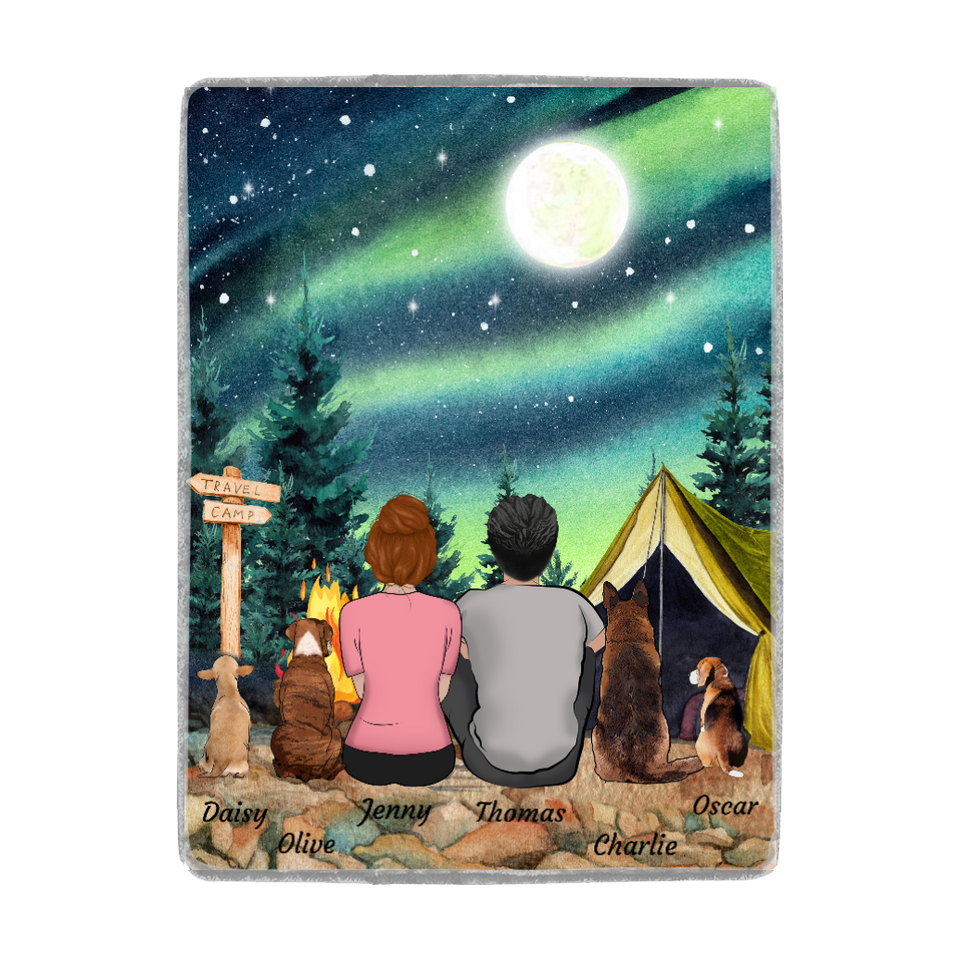 Custom personalized dog & owner fleece blanket gift for dog dad mom pet lovers, dog lovers - Travel Camping - PersonalizedWitch