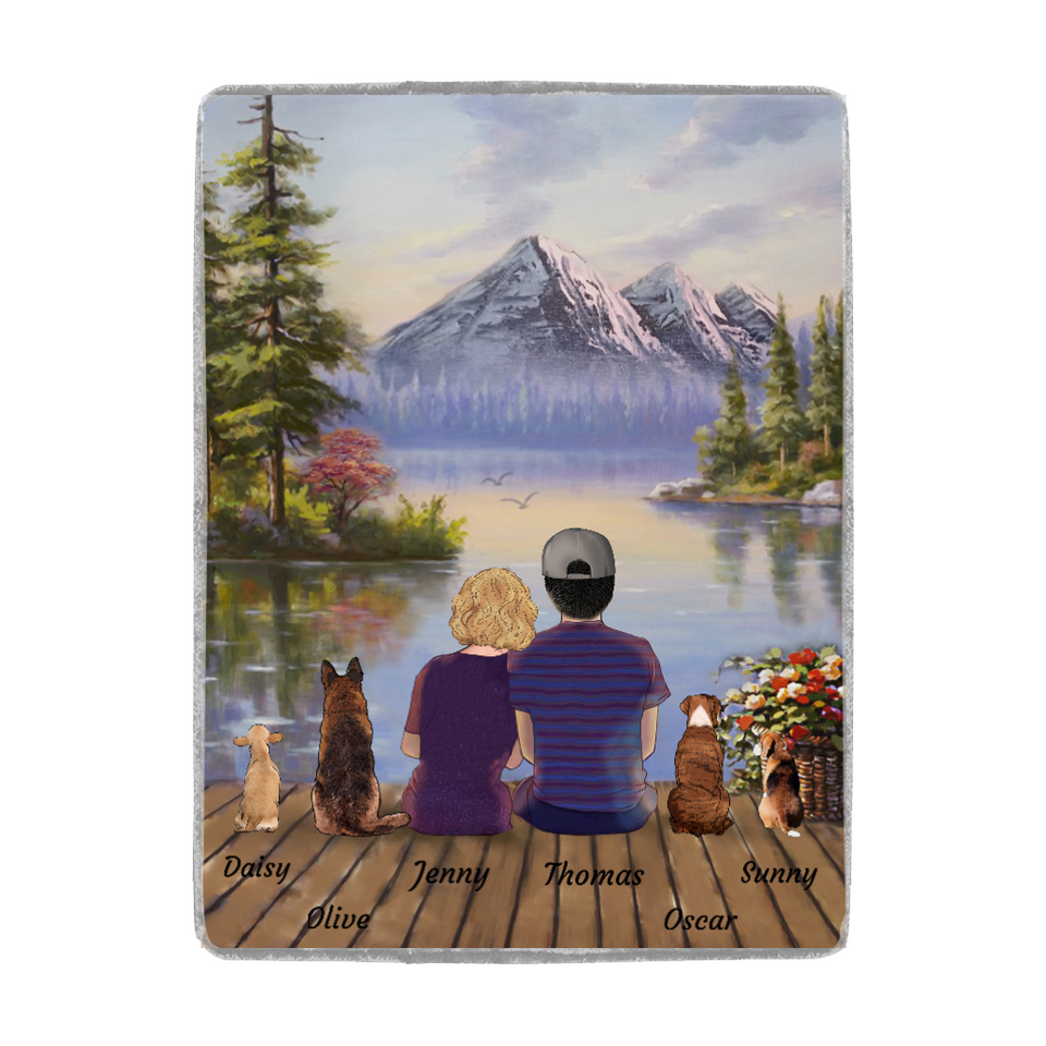 Custom personalized dog & owners camping fleece blanket Pet remembrance gift idea for the whole family, dog lovers, dog dad mom - Lake And Mountain View Fleece Blanket - Personalized custom dog blanket dog lover gift idea family gift - PersonalizedWitch