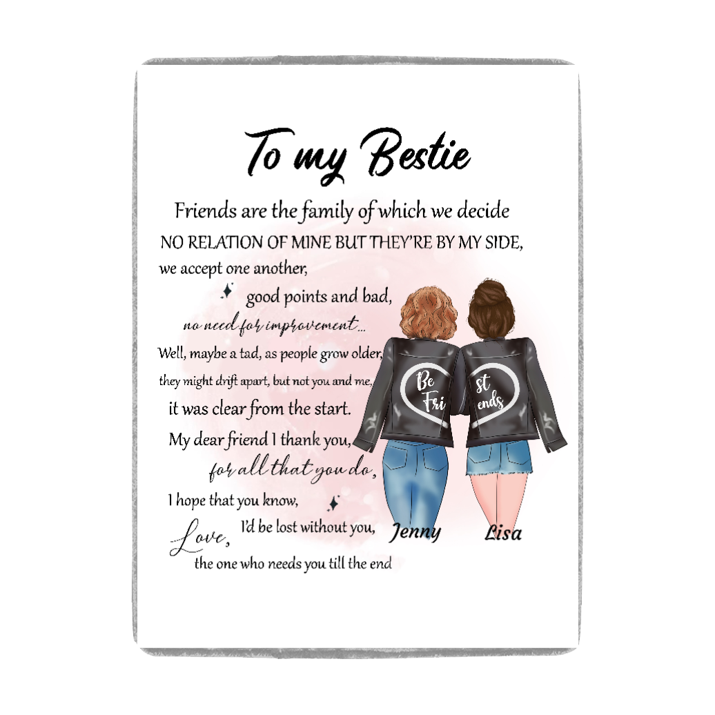 Custom Personalized best friends picnic fleece blankets Bestie friendship gift for sisters - To My Bestie - PersonalizedWitch