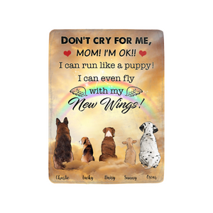 Fleece Blanket Dogs Fly New Wings - Personalized unique mother's day gifts ideas for mom dog owners presents for pet lovers custom blanket