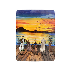 Personalized custom dog & owner fleece blanket gift for dog mom dad pet lovers, dog lovers - Sunset On The Lake.