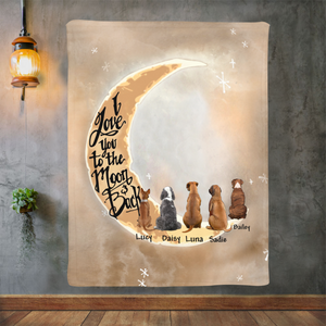 Personalized custom dog & owner fleece blanket gift for dog mom dad pet lovers, dog lovers - I Love You To The Moon and Back - PersonalizedWitch