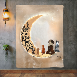 Personalized custom dog & owner fleece blanket gift for dog mom dad pet lovers, dog lovers - I Love You To The Moon and Back.