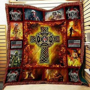 Cross Firefighter Quilt Blanket