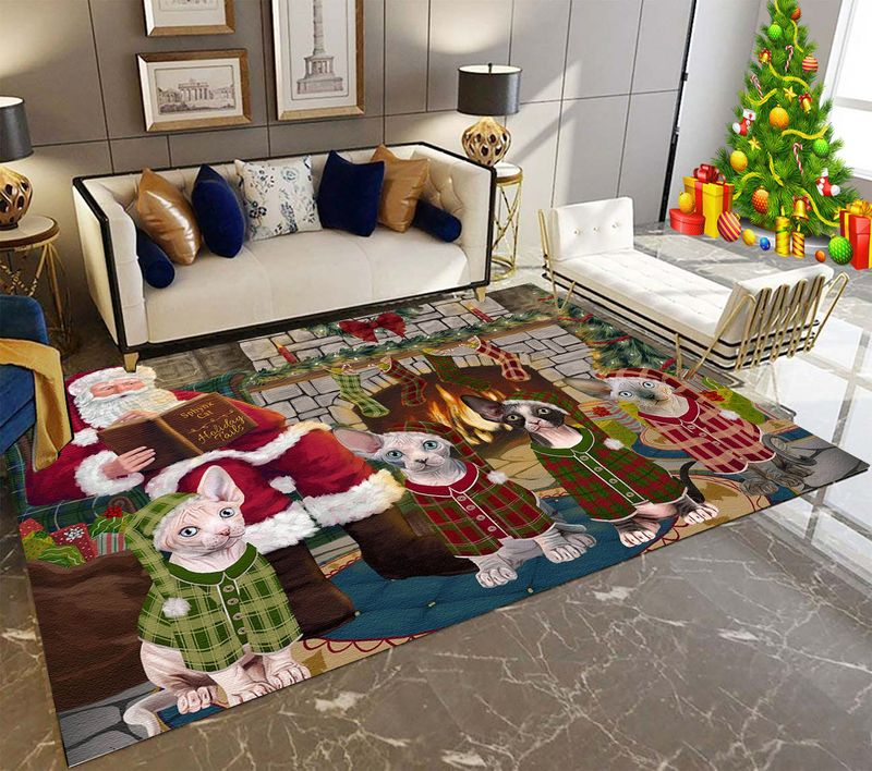 Sphynx Cat Holiday Tails Rectangle Rug