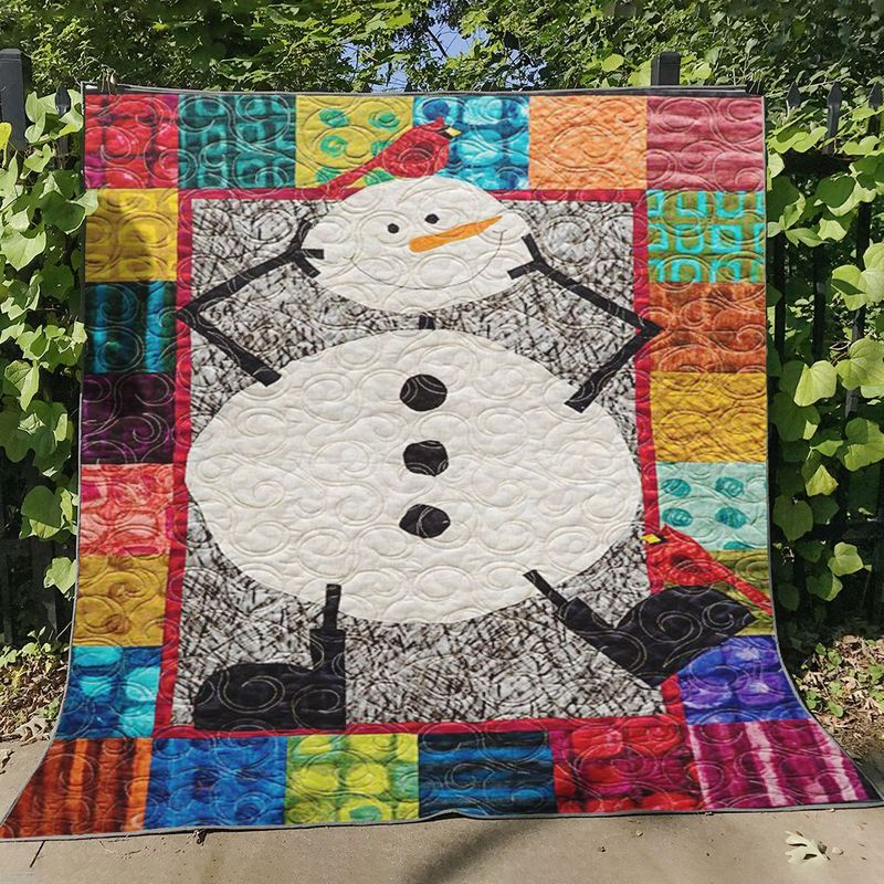 Funny Snowman Christmas Quilt Blanket