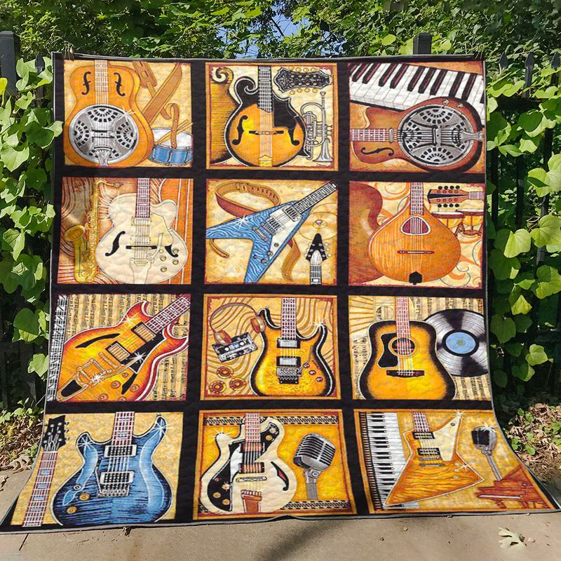All Amped Up Guitar Quilt Blanket 64