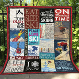 On Moutain Time Skiing Quilt Blanket 11