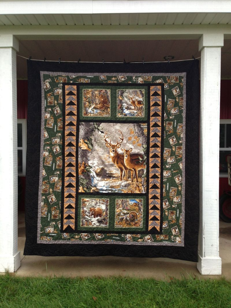 Deer In Forest Quilt Blanket 22