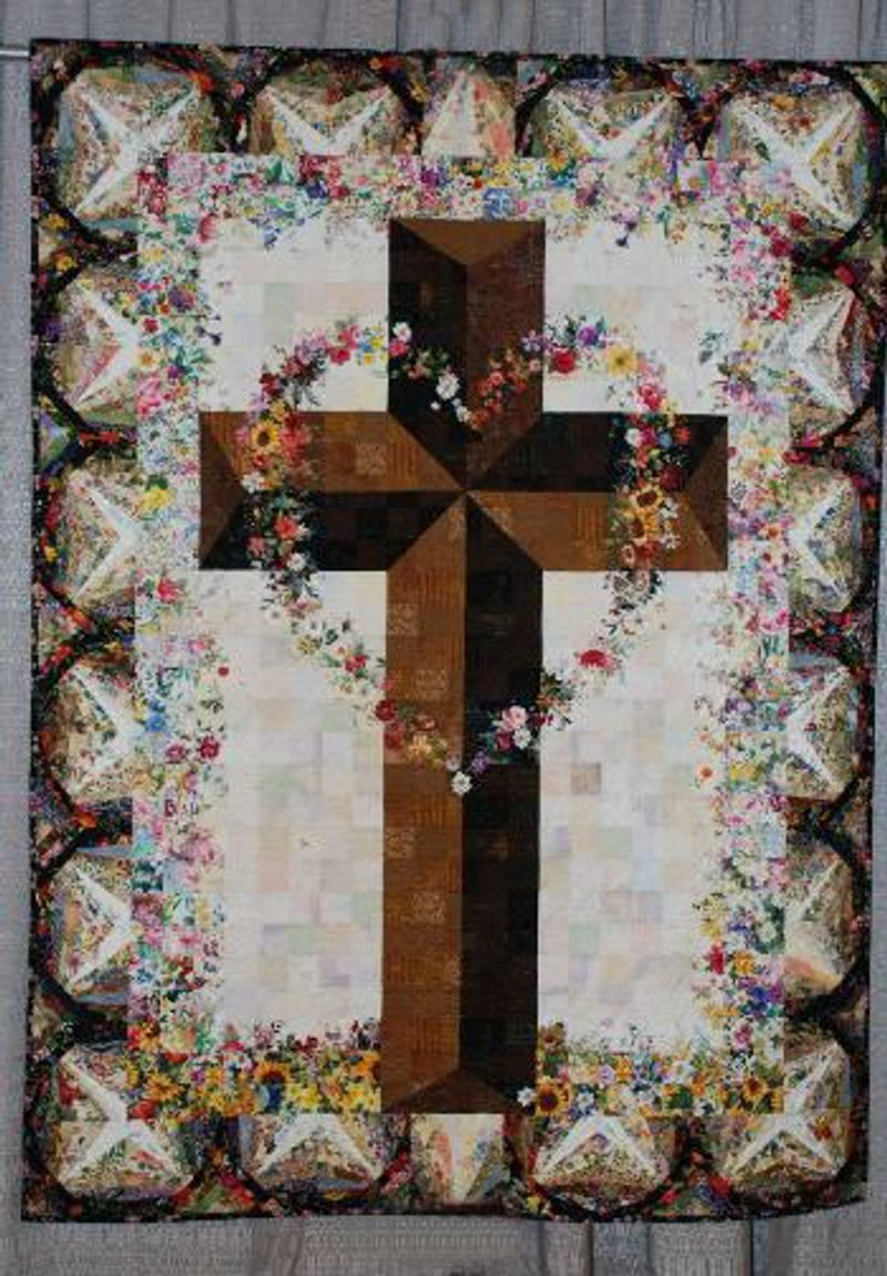 Flowers and Christian Cross Quilt Blanket 22