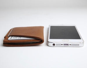 Slim Italian vegetable tanned leather card holder