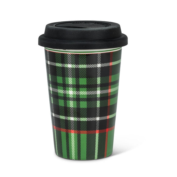 Green & Black Plaid Take Away Mug