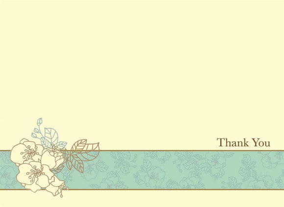 Blue & Ivory Floral Boxed Thank You