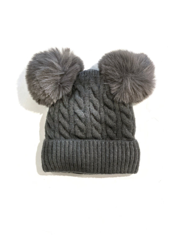 Double Pom Pom Toddler Knitted Hat