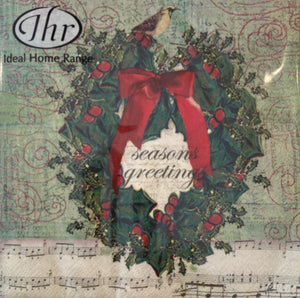 IHR Luncheon Napkin - Holiday Wreath