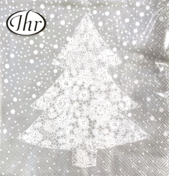 IHR Luncheon Napkin - Christmas Lace Silver