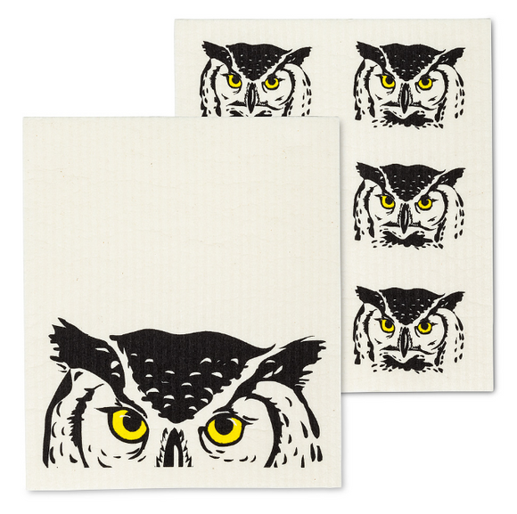 Swedish Dish Cloth - Peeking Owl