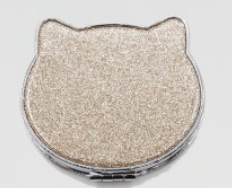 Glitter Cat Compact Mirror - Gold