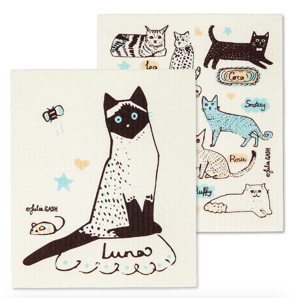 Swedish Dish Cloth - Cats with Names