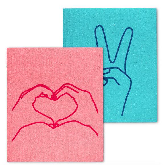 Swedish Dish Cloth - Peace & Love