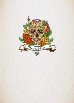 Get Well - Floral Skull