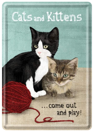Tin Postcard - Cats & Kittens
