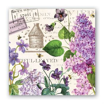 Michel Designs Cocktail Napkin - Lilac and Violets