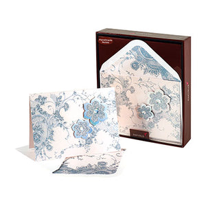 Papyrus Boxed Blank Notecards - Handmade Silver Floral