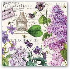 Michel Designs Luncheon Napkin - Lilac and Violets