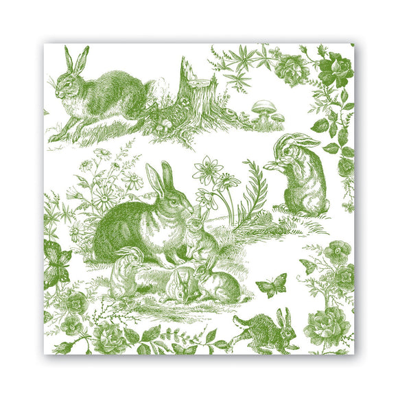 Michel Designs Luncheon Napkin - Bunny Toile