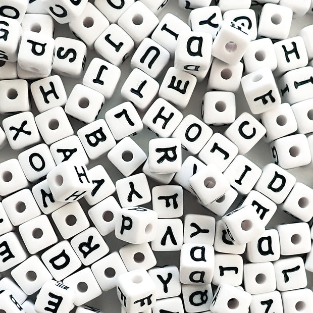 11mm white cube alphabet beads