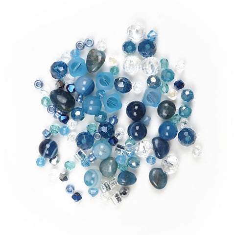 Ocean Blue Designer Bead Mix, Various Shapes & Sizes, 100 beads
