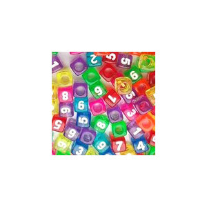 Plastic Transparent Colored Number Beads, Mixed, (Horiz) 7mm Cube, 250 beads