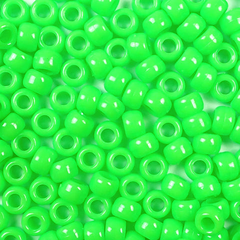 opaque lime green 6 x 9mm plastic pony beads in bulk