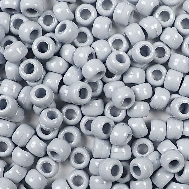 gray 6 x 9mm plastic pony beads in bulk