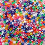 6 x 9mm Plastic Pony Beads in rainbow pearl colors