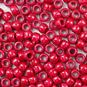 red pearl 6 x 9mm plastic pony beads in bulk