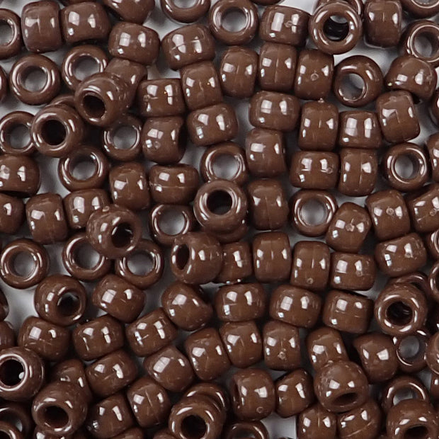 chocolate brown 6 x 9mm plastic pony beads in bulk