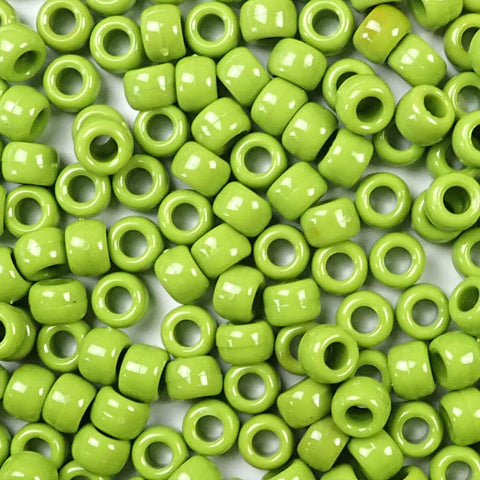 kiwi green 6 x 9mm plastic pony beads in bulk