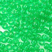 mint green glitter 6 x 9mm plastic pony beads in bulk