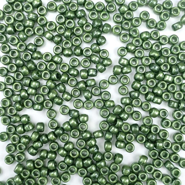 Jade Green Pearl Plastic Pony Beads 6 x 9mm, 500 beads