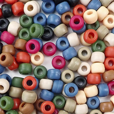 Americana colors of 6 x 9mm Plastic Pony Beads