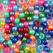 Rainbow pearl colors in 6 x 9mm Plastic Pony Beads
