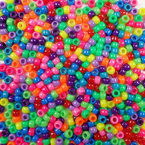 6 x 9mm Plastic Pony Beads in a mix of bright rainbow colors