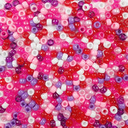 6 x 9mm Plastic Pony Beads in Valentine's Day Colors of Red, White, Pink and Purple