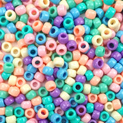 Pastel Opaque Multi-color Mix Plastic Pony Beads 6 x 9mm, 500 beads
