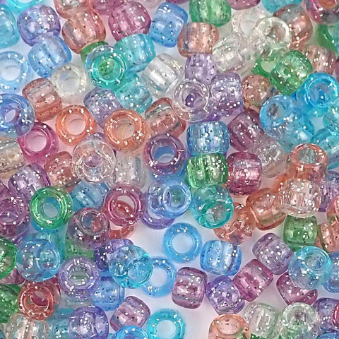 Pastel Glitter Mix Plastic Pony Beads 6 x 9mm, 500 beads
