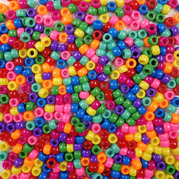 6 x 9mm Plastic Pony Beads in a mix of vibrant opaque colors